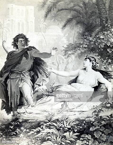 Illustration zur Szene im 2 AktParsifal und Kundryum 1890
