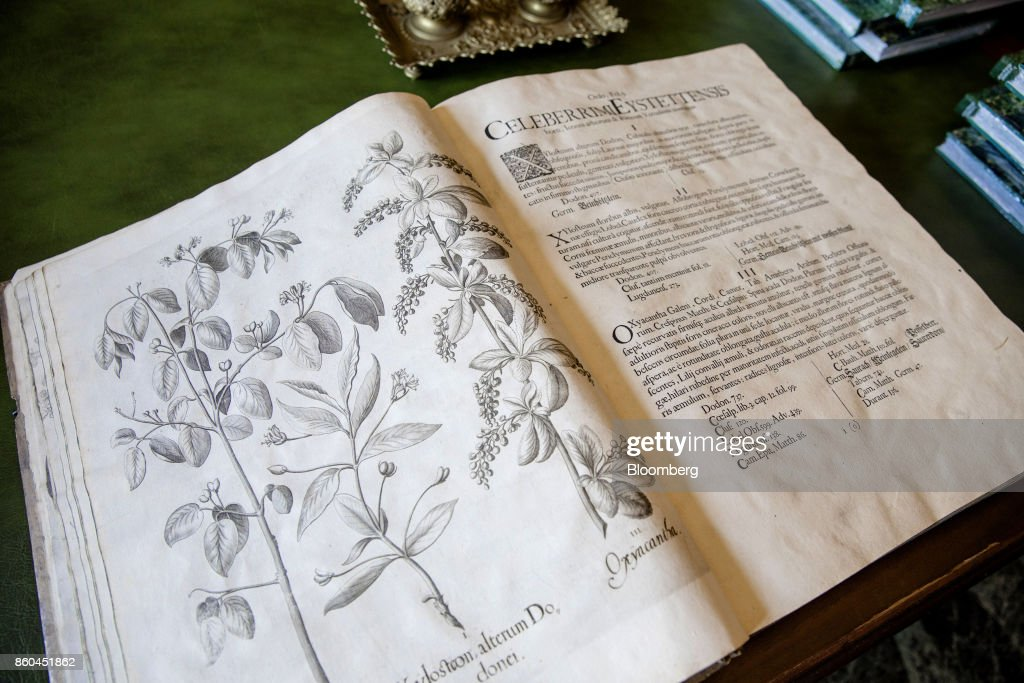 Illustrations and text sit inside a 1640 edition of a botanicalcodex in the library of the VillaLes Cèdres, a 187-year-old, 18,000-square-foot, 14-bedroom mansion set on 35 acres, in Saint-Jean-Cap-Ferrat, France, on Tuesday, Sept. 26, 2017. With a list price of 350 million ($410 million), the owner, the Italian distiller Davide Campari-Milano SpA, is betting that the houses combination of history, luxury, and a prime location along the coast of Saint-Jean-Cap-Ferrat will be enough to make it the most expensive residential sale in history. Photographer: Marlene Awaad/Bloomberg via Getty Images