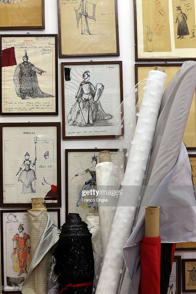 Illustrations by costume designer Piero Tosi ar shown at the Tirelli Atelier on February 20, 2015 in Rome, Italy. The costumier Tirelli was established in 1964 and is responsible for the creation of costumes for films and well-known productions, including almost all of Luchino Visconti's films (designed by Piero Tosi). Tirelli has created costumes for a great many films for which it has won Academy Awards as well as other awards for Best Costume (Amadeus, Casanova, Cyrano, The English Patient, Age of Innocence, Marie Antoinette etc.).