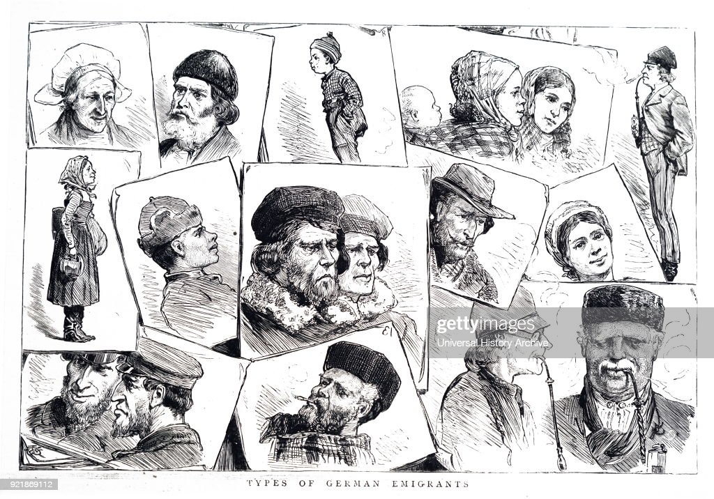 Illustrations depicting the different types of German emigrants. Dated 19th century.