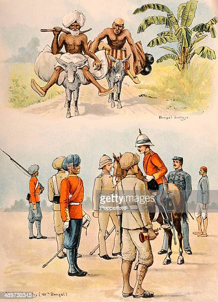 Illustrations from Lloyd's Sketches of Indian Life including natives riding Bengal donkeys and reviewing the VIIth Bengal native infantry published...