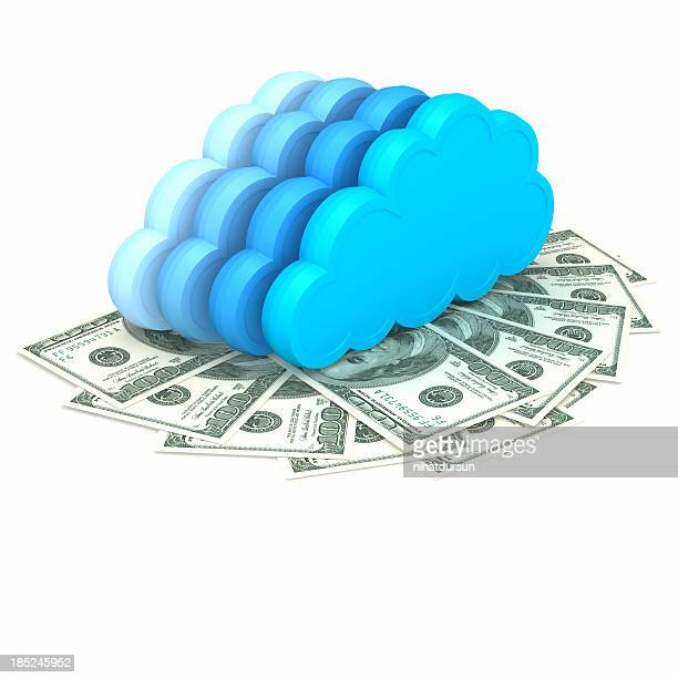 Illustrations of abstract clouds above dollars