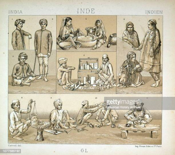 Illustrations showing clothes worn by different castes in Imperial India , 1880.