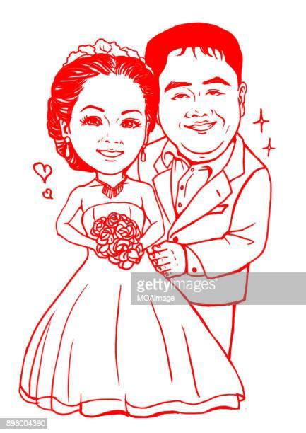 Illustrations, wedding photos