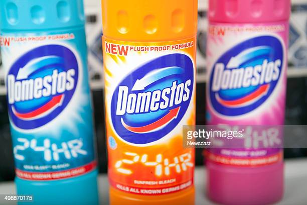 Illustrative image of a Domestos bleach bottle.