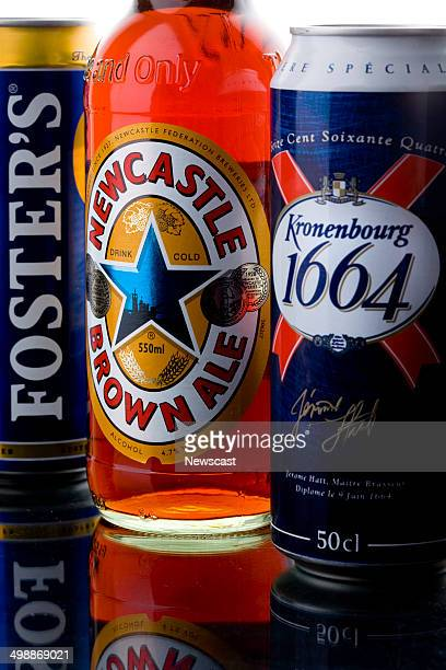 illustrative image ofNewcastle Brown Ale Kronenburg 1664 and Foster's Ice beer brands part of the Scottish Newcastle