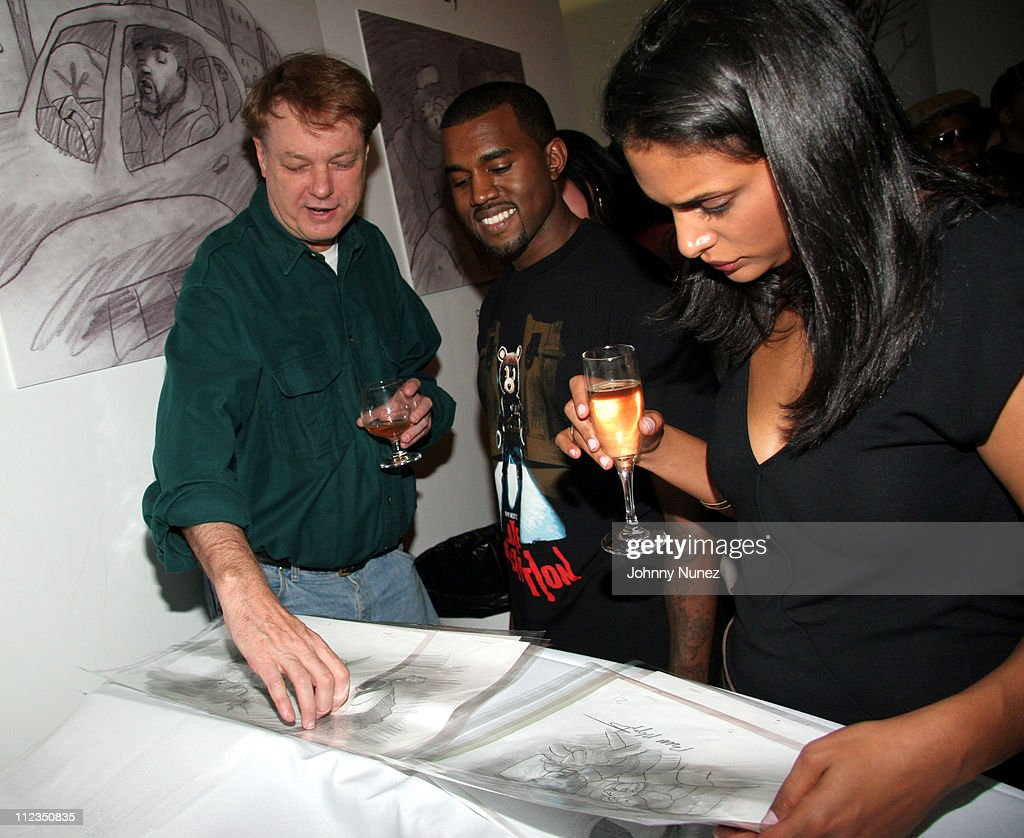 Illustrator Bill Plympton, Kanye West and Guest during Kanye West 'Heard Em Say' Video Launch and Art Gallery at G.R. N'Namdi Gallery in New York, New York, United States.