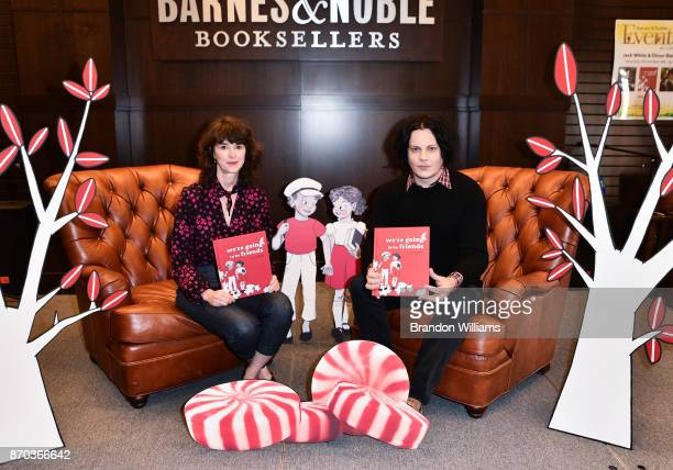 Illustrator Elinor Blake and musician / author Jack White pose with their book 'We're Going to be Friends' during their book signing at Barnes Noble...