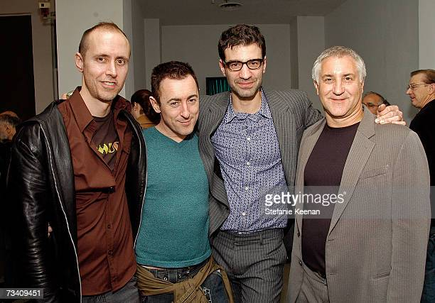 Illustrator Grant Shaffer actor Alan Cumming Joern Weissbrodt and Voom HD Networks General Manager Greg Moyer attend the unveiling of Robert Wilson's...