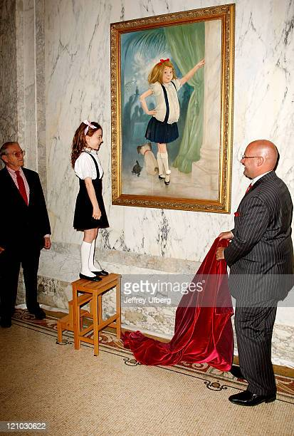 """Illustrator Hilary Knight, actress Jordana Beatty, who plays Eloise in the upcoming """"Eloise in Paris"""" movie, and General Manager Shane Krige poses..."""