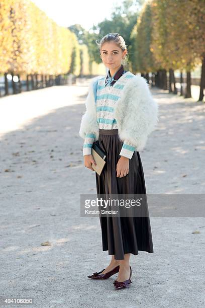Illustrator Jenny Walton wears a vintage bag jacket and skirt Miu Miu shoes and Dries Van Noten top on day 3 during Paris Fashion Week Spring/Summer...