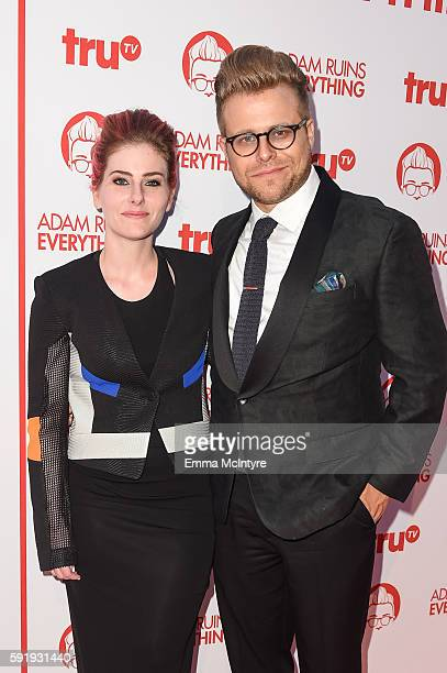 Illustrator Lisa Hanawalt and Creator and host Adam Conover attend the screening and reception for truTV's 'Adam Ruins Everything' at The Library at...