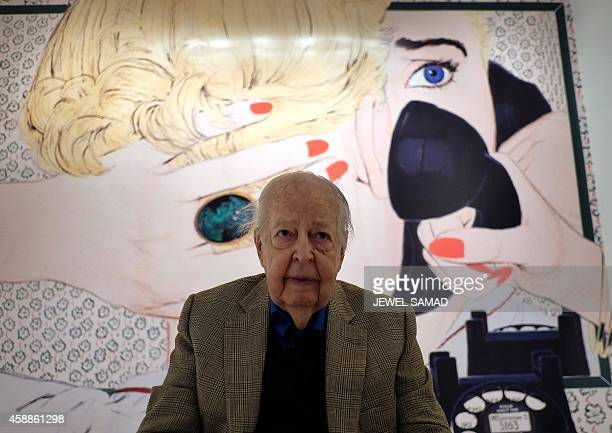 US Illustrator McCauley Conner one of New York's original Mad Men waves at high school graphic design students at the Museum of the City of New York...