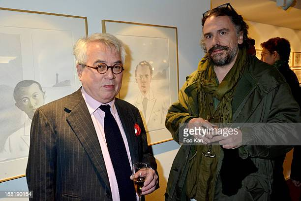 illustrator/writer Pierre Le Tan and Simon Liberati attend the Designer Kevin Lyons And Various Artists Exhibition Preview At Colette on December 10...