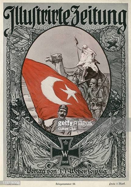 front cover 7 January 1915 War Edition Number 23 Showing Ottoman soldiers with flag during World War 1 German journal