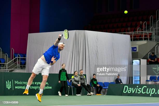 Illya Marchenko of Ukraine is seen in action during a match against Chun Hsin Tseng of Chinese Taipei during the Davis Cup World Group I First Round...