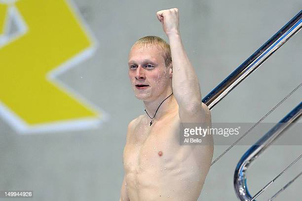 Illya Zakharov of Russia celebrates winning the Men's 3m Springboard Diving Final on Day 11 of the London 2012 Olympic Games at the Aquatics Centre...