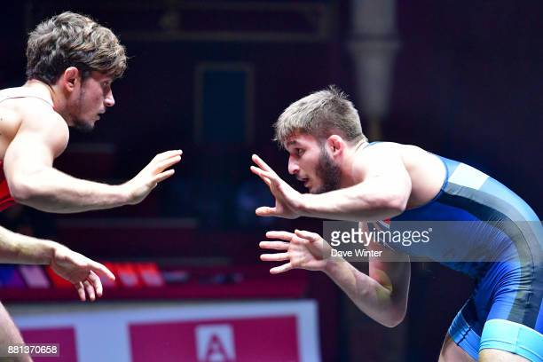 Ilman Mukhtarov of France and Filip Novachkov of Bulgaria during the International wrestling test match between France and Bulgaria at Le Cirque...
