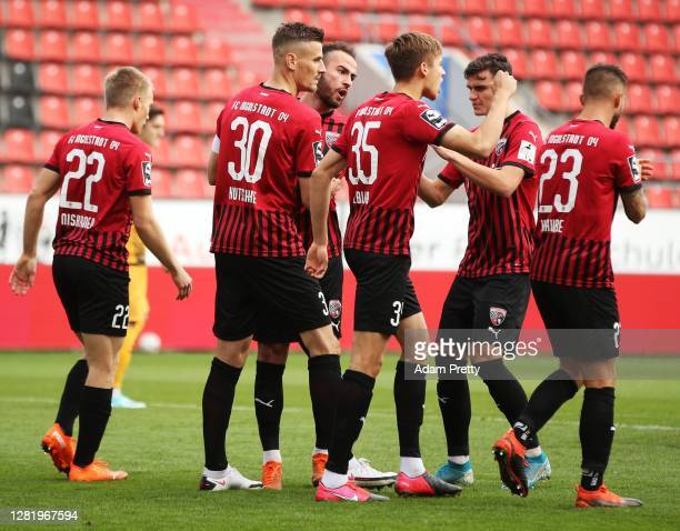 Ilmari Niskannen of FC Ingolstadt 04 is congratuklated after scoring a penalty goal during the 3. Liga match between FC Ingolstadt and Dynamo Dresden...
