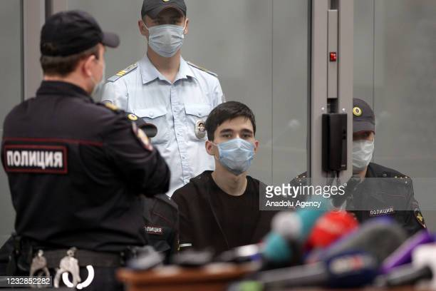 Ilnaz Galyaviyev who opened fire in secondary school No 175 appears for a remand hearing at Kazan's Sovetsky District Court in Russia, on May 12,...