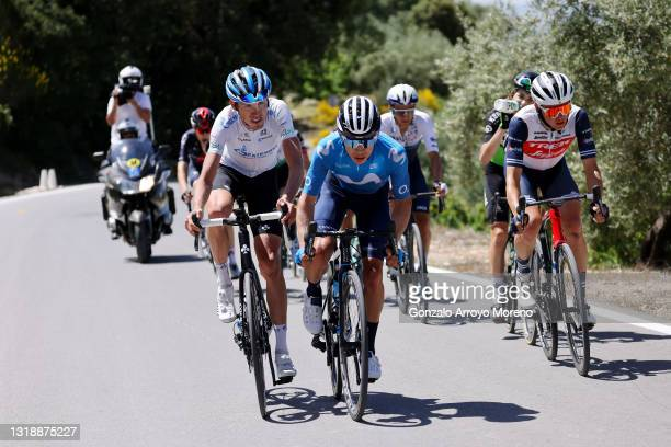 Ilnur Zakarin of Russia and Team Gazprom - Rusvelo, Miguel Ángel López Moreno of Colombia and Movistar Team & Toms Skujins of Latvia and Team Trek -...