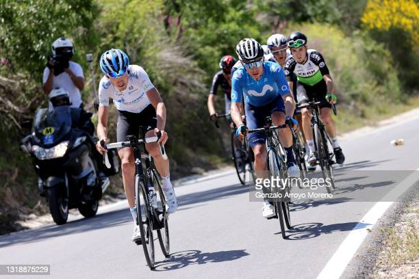 Ilnur Zakarin of Russia and Team Gazprom - Rusvelo & Miguel Ángel López Moreno of Colombia and Movistar Team in breakaway during the 67th Vuelta A...