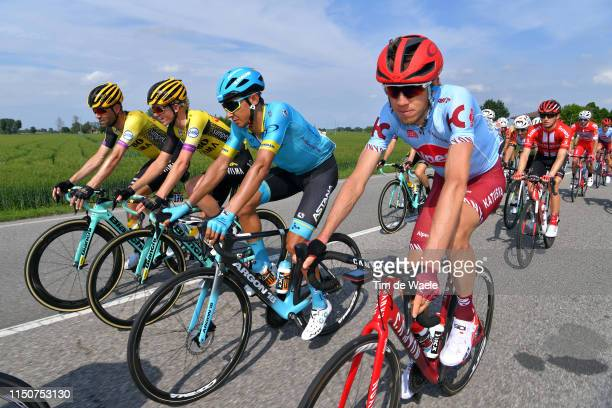 Ilnur Zakarin of Russia and Team Katusha Alpecin / Andrey Zeits of Kazahkstan and Astana Pro Team / Koen Bouwman of The Netherlands and Team Jumbo -...