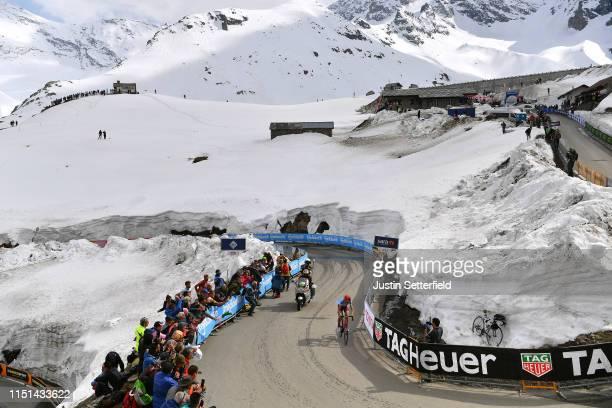 Ilnur Zakarin of Russia and Team Katusha Alpecin / Ceresole Reale / Landscape / Mountains / Snow / Fans / Public / during the 102nd Giro d'Italia...
