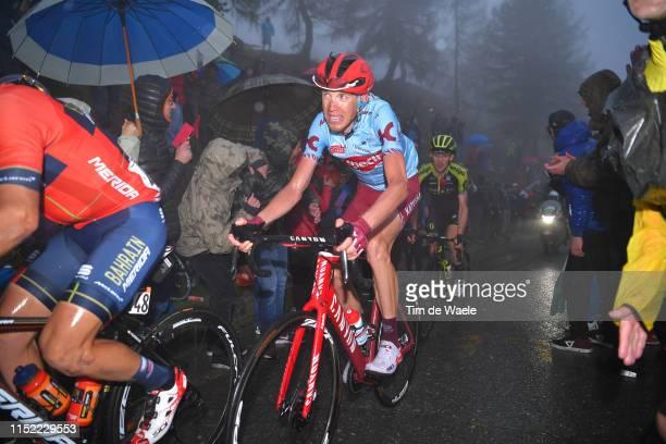Ilnur Zakarin of Russia and Team Katusha Alpecin / Passo del Mortirolo / Fans / Public / Rain / Fog / during the 102nd Giro d'Italia 2019, Stage 16 a...