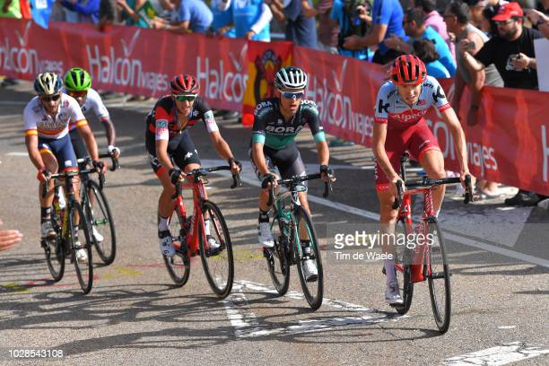 Ilnur Zakarin of Russia and Team Katusha Alpecin / Rafal Majka of Poland and Team Bora Hansgrohe / Dylan Teuns of Belgium and BMC Racing Team /...