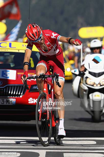 Ilnur Zakarin of Russia and Team Katusha celebrates winning the 1845km stage seventeen of Le Tour de France from Berne to FinhautEmosson on July 20...