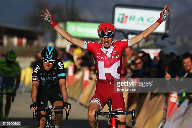 Ilnur Zakarin of Russia and Team Katusha crosses the line to win stage 6 of the 2016 Paris-Nice, a 177km stage from Nice to La Madone d'Utelle on...