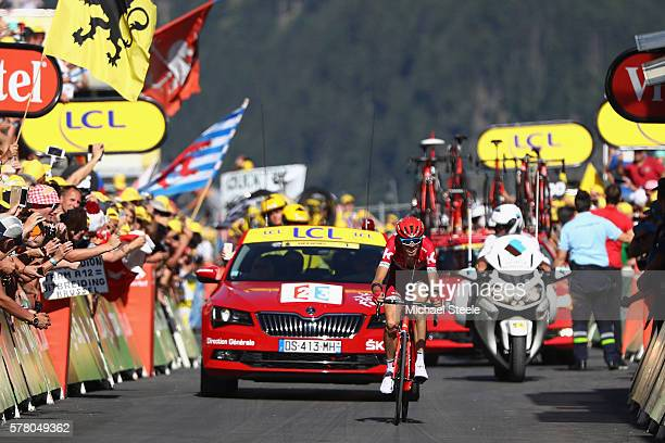 Ilnur Zakarin of Russia and Team Katusha wins the 184.5km stage seventeen of Le Tour de France from Berne to Finhaut-Emosson on July 20, 2016 in...