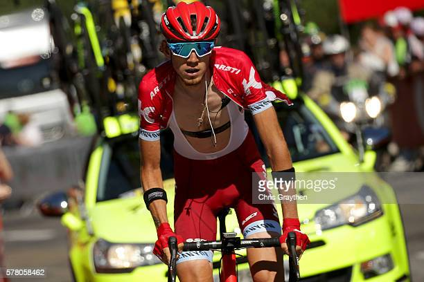 Ilnur Zakarin of Russian riding for Team Katusha rides up the final climb during stage seventeen of the 2016 Le Tour de France, a 184.5km stage from...