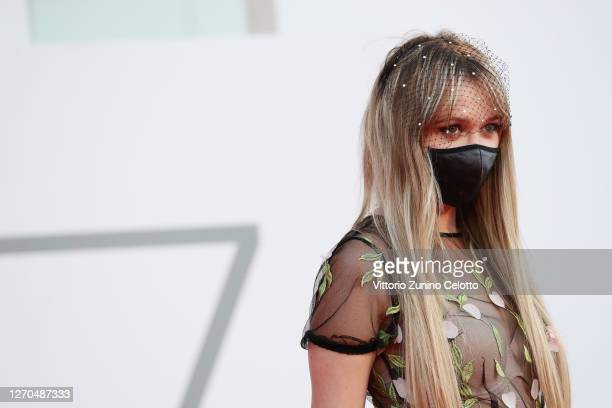 """Ilona Matsour walks the red carpet ahead of the movie """"Amants"""" at the 77th Venice Film Festival at on September 03, 2020 in Venice, Italy."""