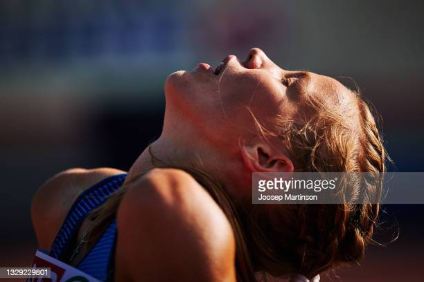 Ilona Mononen of Finland reacts in the Women's 3000m Final during European Athletics U20 Championships Day 3 at Kadriorg Stadium on July 17, 2021 in...
