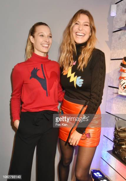Ilona Smet and Miss France 2011 Laury Thilleman attend Rossignol Paris Flagship Opening at 21 Bd Capucines on October 22 2018 in Paris France