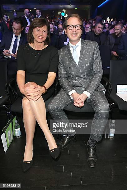 Ilse Aigner and Minister of transport Alexander Dobrindt during the German Computer Games Award 2016 at BMW World on April 7 2016 in Munich Germany