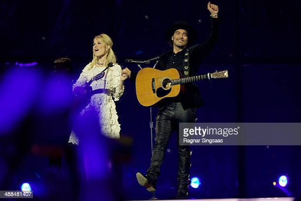 Ilse DeLange and Waylon of the band The Common Linnets from The Netherlands perform on stage during the first Semi Final of the Eurovision Song...