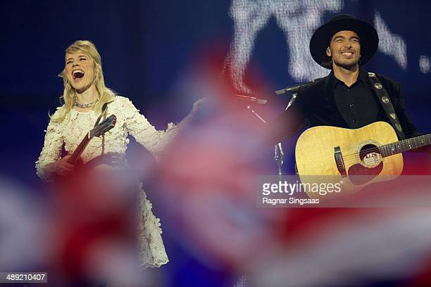 Ilse DeLange and Waylon of the band The Common Linnets from The Netherlands perform on stage during the grand final of the Eurovision Song Contest...