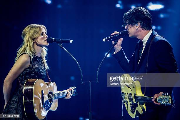 Ilse DeLange and Waylon of the band The Common Linnets perform during the Radio Regebenbogen Award Show 2015 at Europapark on April 24 2015 in Rust...
