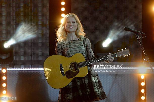 Ilse DeLange from the Band The Common Linnets perform the 'Starnacht am Woerthersee' at Woertherseebuehne Klagenfurt on July 18 2014 in Klagenfurt...
