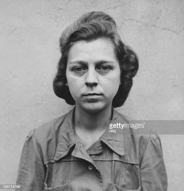 Ilse Forster , a guard at the Bergen-Belsen concentration camp, Germany, circa 1945. Charged with war crimes and crimes against humanity, Forster is...