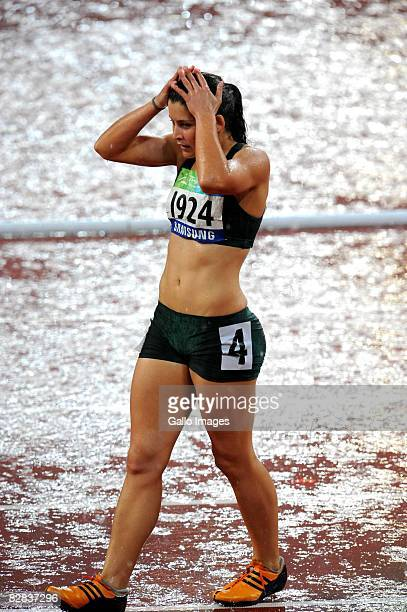Ilse Hayes of South Africa wins Silver after Sanaa Benhama of Marocco in the 100m T13 during day 10 of the 2008 Beijing Paralympic Games held in...