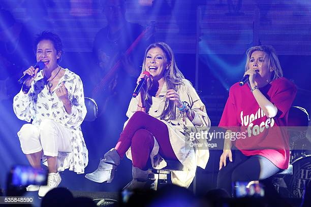 Ilse Ivonne and Mimi of Flans perform during a concert as part of the tour Flans 30 años at Farwest Dallas on May 29 2016 in Dallas United States