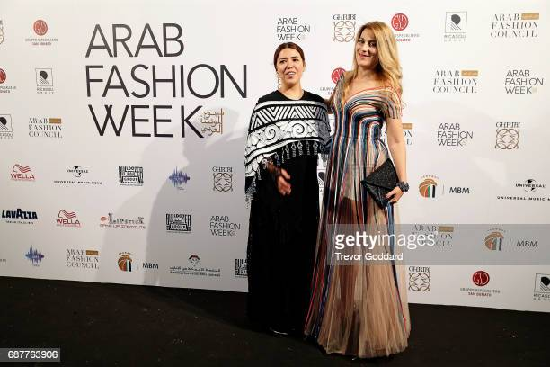 Ilse Jara and Diana d'u2019Alo attend the Arab Fashion Week Ready Couture Resort 2018 Gala Dinner on May 202017 at Armani Hotel in Dubai United Arab...