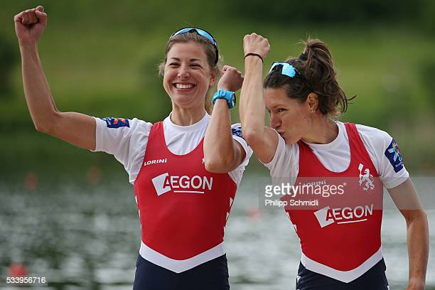 Ilse Paulis and Maaike Head of the Netherlands celebrate after qualifying for the 2016 Summer Olympic Games in Rio during Day 3 of the 2016 FISA...