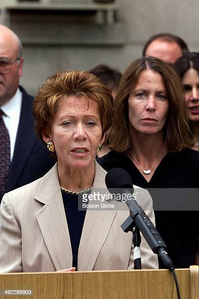 Ilse Stark speaks with the media as her daughter Belinda Markel right looks on during a press conference on June 29 after Dr Dirk Greineder was...