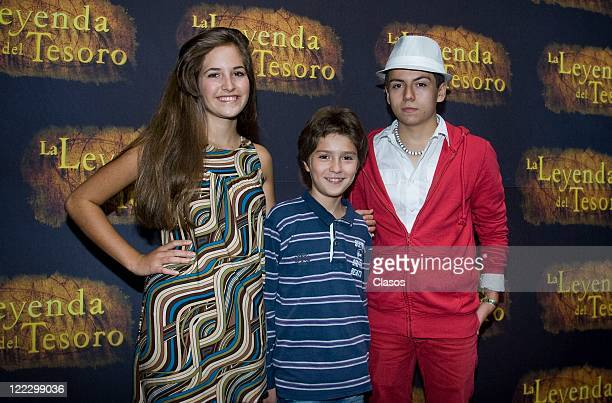 Ilse Zamarripa Diego Velazquez Adrian Alonso during the photo Shoot with the cast of the movie La Leyenda del Tesoro on 03 August 2011 in Mexico City...