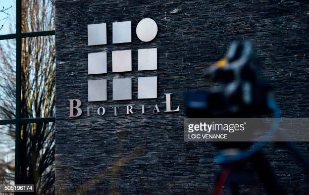 ilThe logo of Biotrial laboratory is seen on the headquarters building in Rennes western France on January 16 after a clinical trial of an oral...